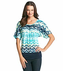 AGB® Chevron Printed Dolman Top