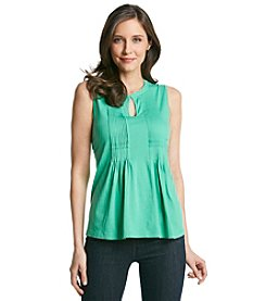 Jones New York Sport® Solid Pleat Splitneck Tank