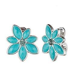Anne Klein® Silvertone Turquoise Clip Earrings