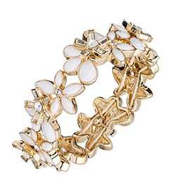 Anne Klein® Goldtone White Stretch Bracelet