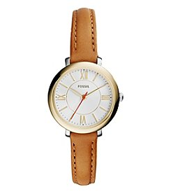 Fossil® Women's Jacqueline Small Watch In Two Tone With Light Brown Leather Strap