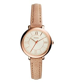 Fossil® Women's Jacqueline Small Watch In Rose Goldtone With Tan Leather Strap