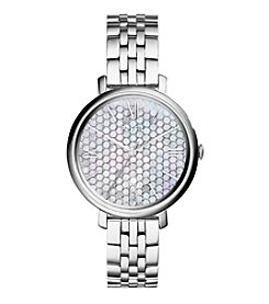Fossil® Women's Jacqueline Watch With Silvertone Bracelet And Mother Of Pearl Dial