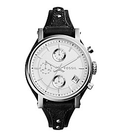 Fossil® Original Boyfriend Watch In Silvertone With Black Leather Strap