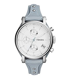 Fossil® Original Boyfriend Watch In Silvertone With Light Blue Leather Strap