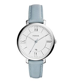 Fossil® Jacqueline Watch In Silvertone With Light Blue Leather Strap