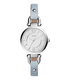 Fossil® Georgia Watch In Silvertone With Light Blue Leather Strap