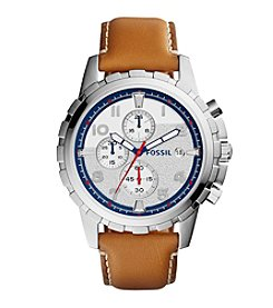 Fossil® Men's Dean Watch In Silvertone With Light Brown Leather Strap