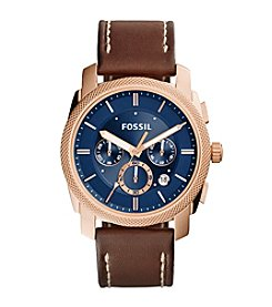 Fossil® Men's Machine Watch In Rose Goldtone With Brown Leather Strap And Navy Blue Dial
