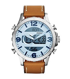 Fossil® Men's Nate Ana Digi Watch In Silvertone With Light Brown Leather Strap And Blue Dial