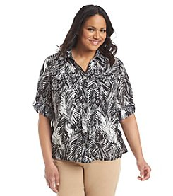 Notations® Plus Size Palm Print Button Up Blouse