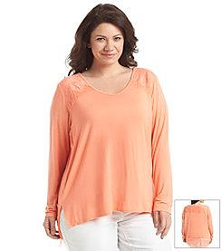 Earl Jean® Plus Size Solid Lace Trim Top