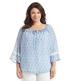 AGB® Plus Size Ikat Print Peasant Top