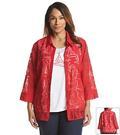 Alfred Dunner® Plus Size American Dream Burnout Sailboat Layered Look Top