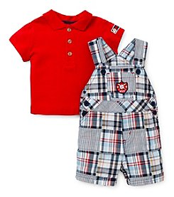 Little Me® Baby Boys' Plaid Shortall Set