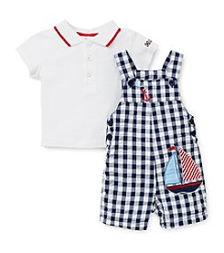 Little Me® Baby Boys' Anchor Plaid Shortall Set