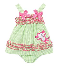 Rare Editions® Baby Girls' Monkey Ruffle Dress
