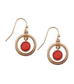 Nine West Vintage America Collection® Goldtone Fish Hook Orbital Earrings with Coral Beads