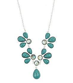 Nine West Vintage America Collection® Silvertone And Turquoise Bead Frontal Necklace