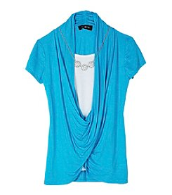 Amy Byer Girls' 7-16 Faux Wrap Top