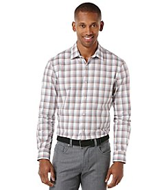 Perry Ellis® Men's Long Sleeve Slim Plaid Map Woven