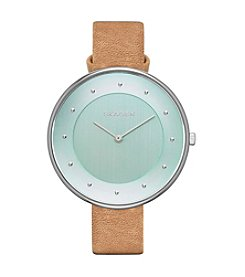 Skagen Denmark Womens Gitte Silvertone Watch With Leather Strap And Colored Dial