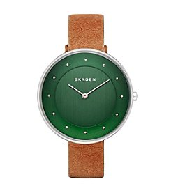 Skagen Denmark Women's Gitte Silvertone Watch With Leather Strap And Colored Dial