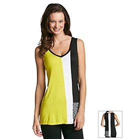 Joan Vass® Contrast Panel Tunic