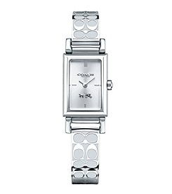 COACH MADISON SIGNATURE STAINLESS STEEL BANGLE WATCH