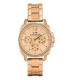 Coach Boyfriend Small Rose Gold Multifunction Bracelet Watch