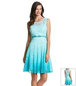 Chetta B. Ombre Lace Fit And Flare Dress