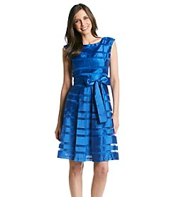 Chetta B Striped Fit And Flare Dress