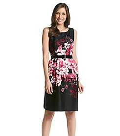 Chetta B. Belted Floral Fit And Flare Dress
