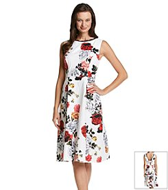 Adrianna Papell® Rose Tea Length Dress