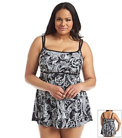 Longitude® Plus Size Royal Scroll Swimdress