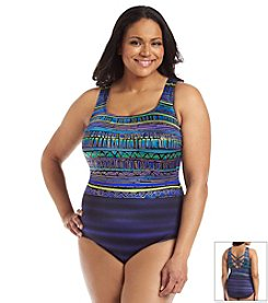 Longitude® Plus Size Rio Grande Double X-Back One Piece