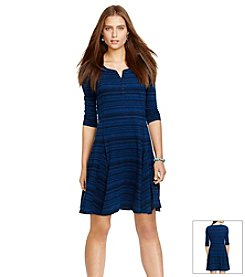 Lauren Jeans Co.® Striped Cotton Henley Dress