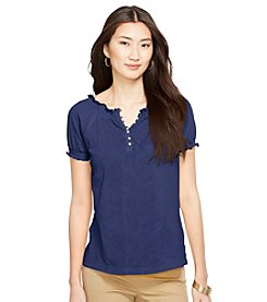 Lauren Ralph Lauren® Embroidered Smocked Cotton Top