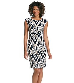 Connected® Chevron Belted Midi Dress