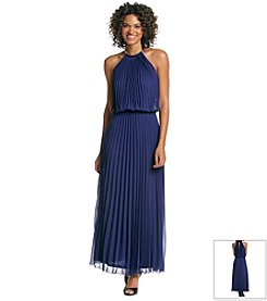 MSK® Pleated Halter Maxi Blouson Dress