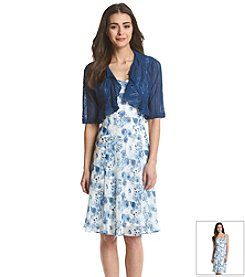 Connected® Petites' Floral Print Shrug Dress