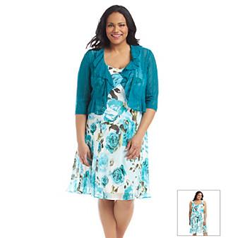 UPC 888815079424 - Connected Plus Size Floral Shrug Chiffon Dress ...