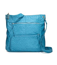 GAL Ostrich Washed Multi Zip Shoulder Bag