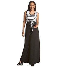 Three Seasons Maternity™ Stripe Tank Solid Maxi Skirt Dress