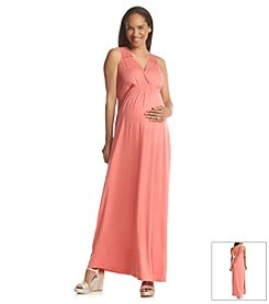 Three Seasons Maternity™ Lace Shoulder & Back Solid Maxi Dress
