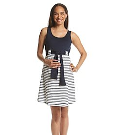 Three Seasons Maternity™ Solid Knit Tank Stripe Skirt Dress