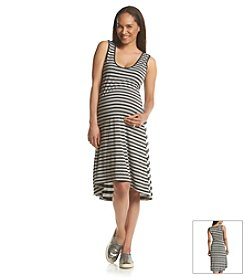 Three Seasons Maternity™ Contrast Stripe Knit Tank Dress