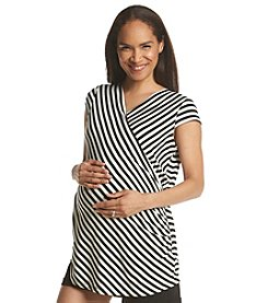Three Seasons Maternity™ Short Sleeve Cross Body Stripe Top