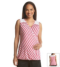 Three Seasons Maternity Sleeveless Lace Shoulder & Back Stripe Tank