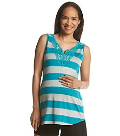 Three Seasons Maternity™ Stripe Tank With Crochet Detail
